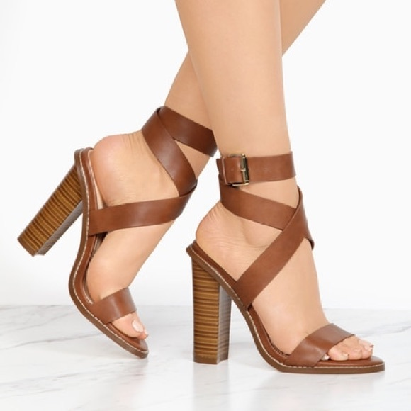 b44880c8fd9 Cognac Criss-Cross Strappy Block Heels